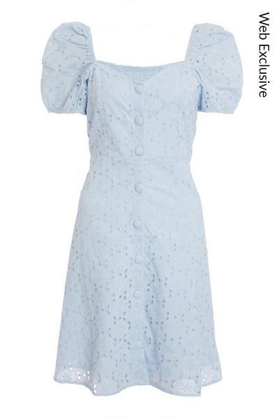 Blue Broderie Skater Dress
